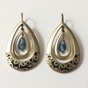 Jewelry - Earrings w/Dangling Blue Bead